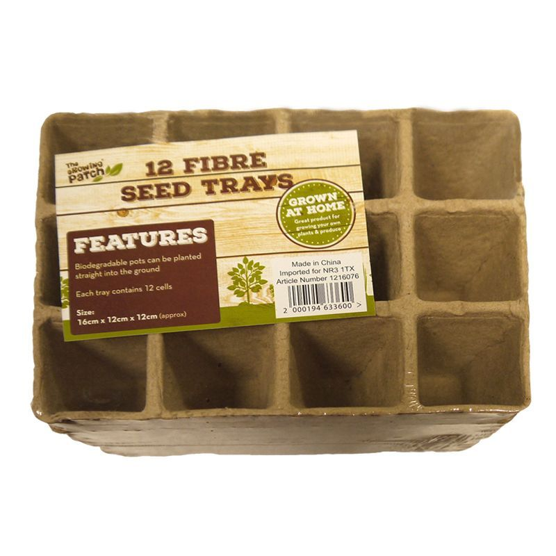 12 Pack Growing Patch 12 Cell Fibre Seed Trays
