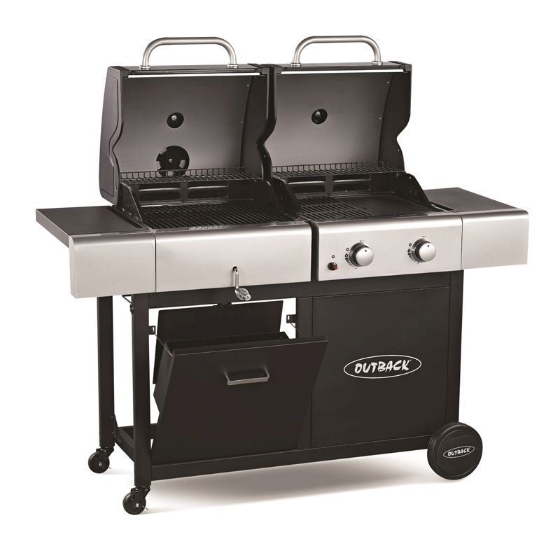 Outback 2 Burner Combi Hooded Gas And Charcoal Barbecue