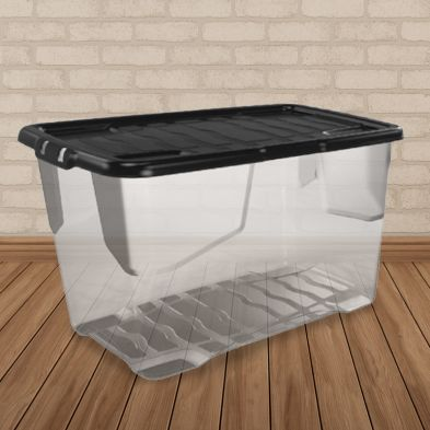 100L Strata Curve Stacking Plastic Storage Clear Box & Black Clip Lid
