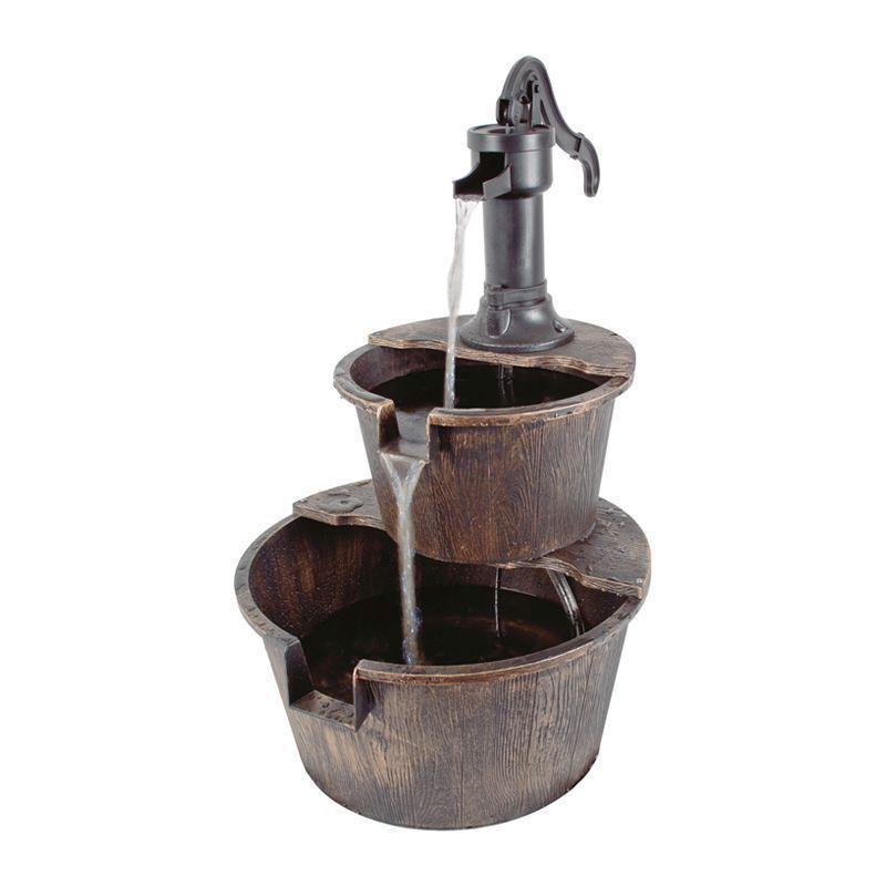 2 Tier Outdoor Barrel Fountain Water Feature