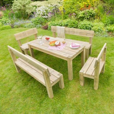 Philippa Table, 2 Bench & 2 Chair Set
