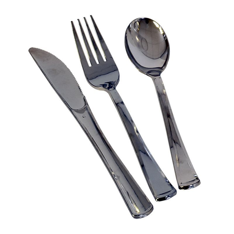 30 Pack Silver Plastic Cutlery