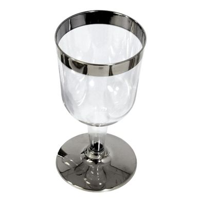 10 Pack Silver Rim Wine Glass
