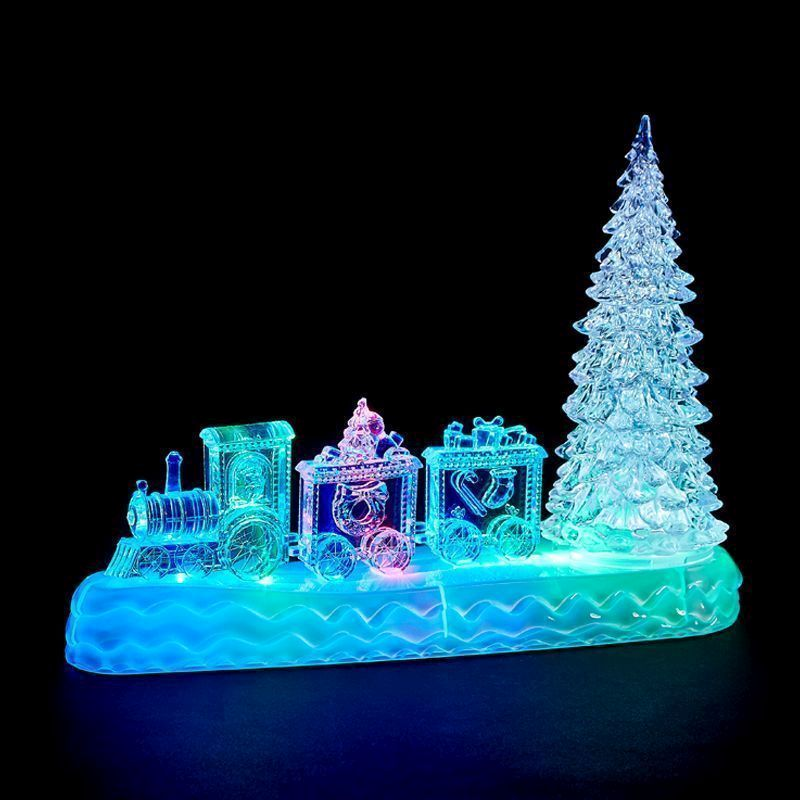 led indoor animated train tree christmas decoration battery