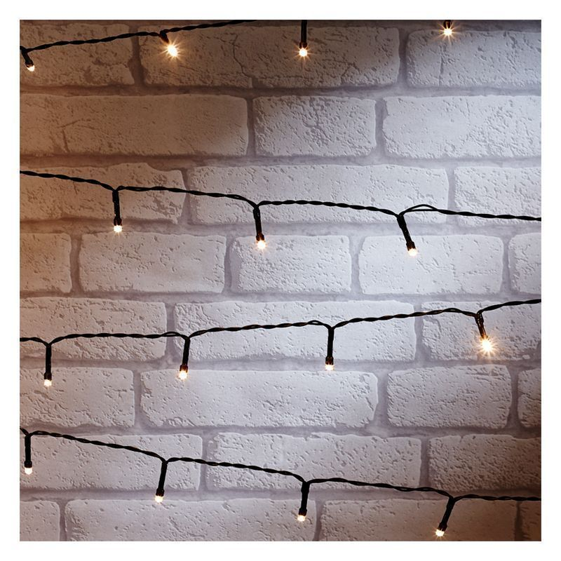 100 LED White Outdoor Animated Light String Battery 7.5m