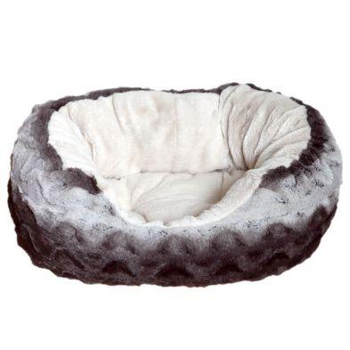 Happy Pet Snuggle Plush Oval Bed (20 Inch) - Grey Cream