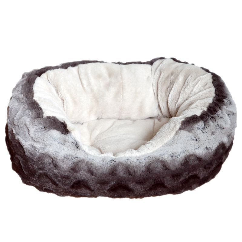 Rosewood Snuggle Plush Oval Bed (25 Inch) - Grey Cream