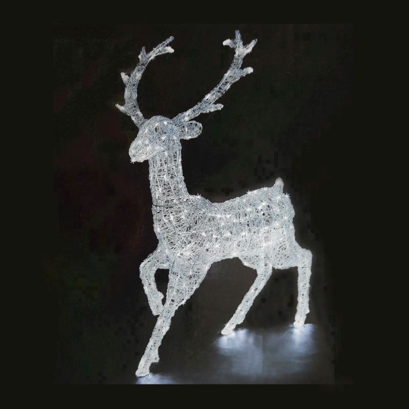 240 LED White Outdoor Animated Acrylic Reindeer Mains 125cm