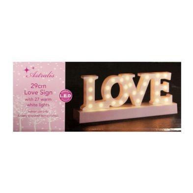 Image of 27 LED Warm White Indoor LOVE Sign Light Decoartion Battery 29x12cm