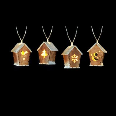 10 Light LED Wood House with Snow