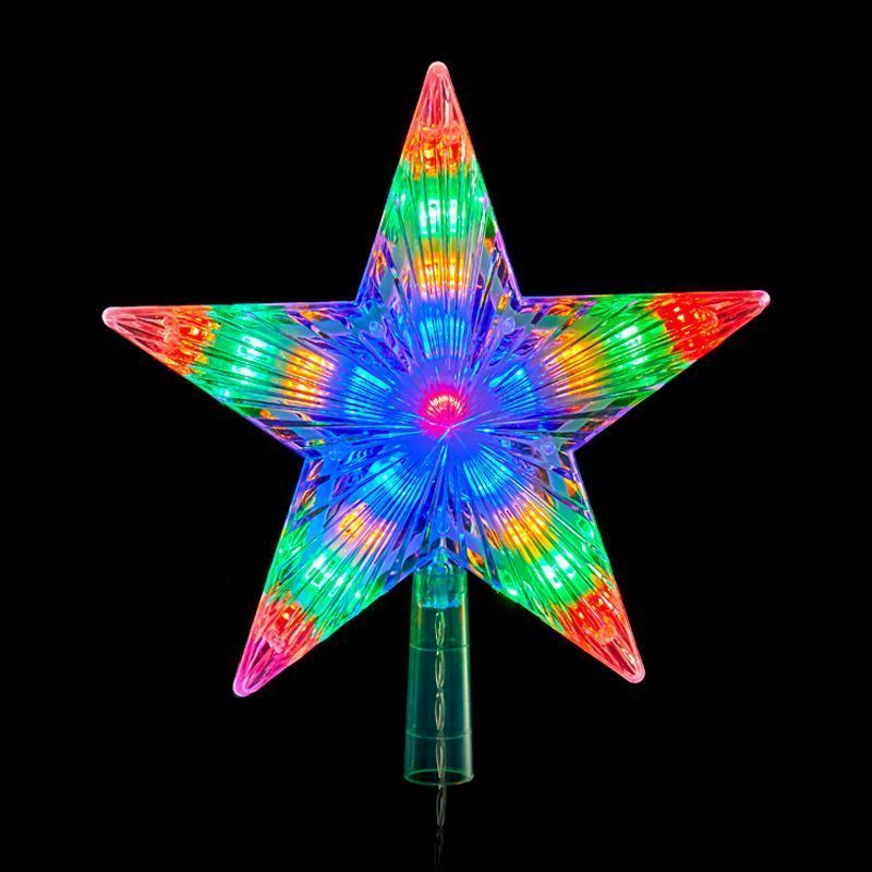 20 LED Multicolour Indoor Animated  Star Tree Topper Light 22cm