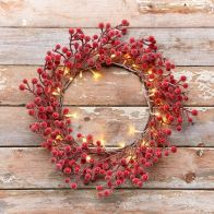 See more information about the 35cm Red Berry Rattan Wreath 30 Light Warm White LED