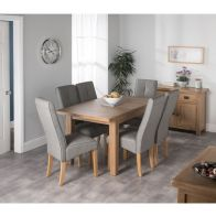 See more information about the Cotswold Oak Dining Table Set With 6 Grey Milan Chairs