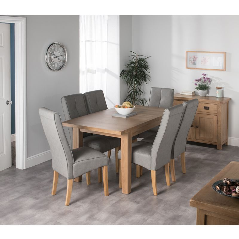 Cotswold Oak Dining Table Set With 6 Grey Milan Chairs Buy Online At Qd Stores