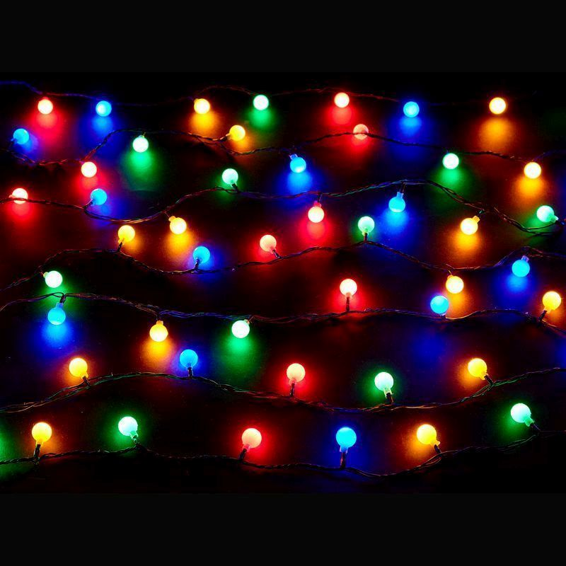 100 LED Multicolour Outdoor Berry Fairy Light Mains 10m