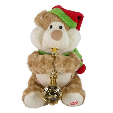 10inch Plush Bear With Saxaphone Animated Toy