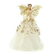 See more information about the 23cm Fabric Angel Tree Topper Gold/crm