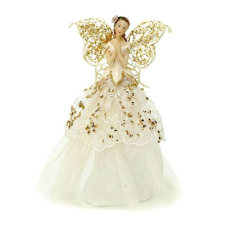 23cm Fabric Angel Tree Topper Gold/crm