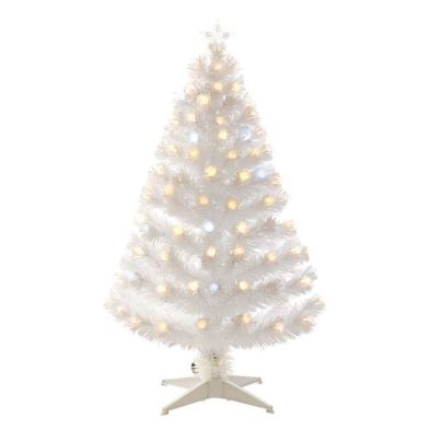 90cm (2 Foot 11 Inch) Warm White Spiky Ball Fibre Optic Christmas Tree