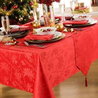 See more information about the Round Tablecloth Red Garland (69 Inch)