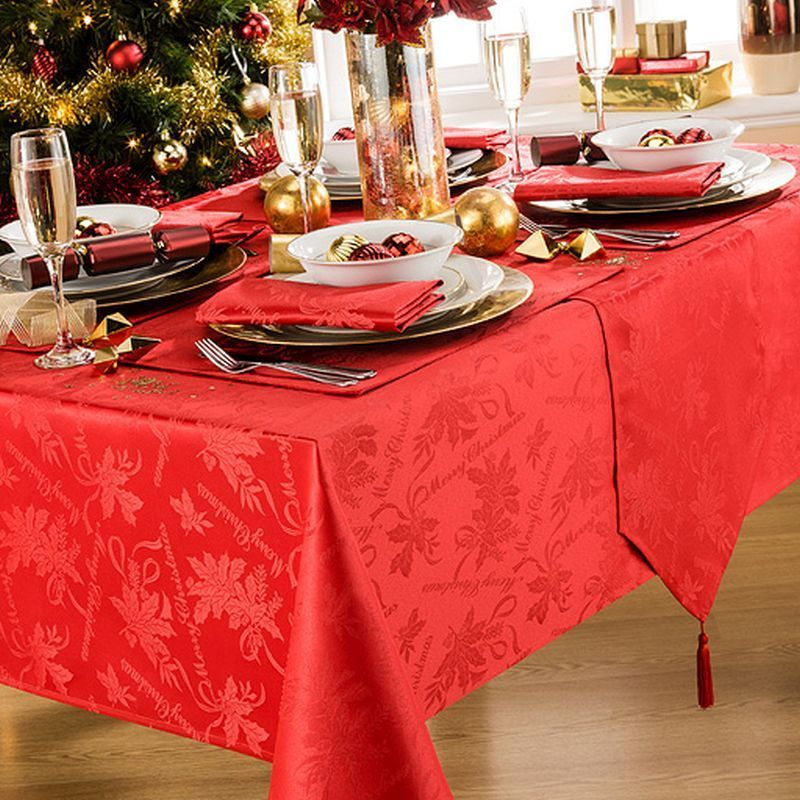Christmas Red.Round Tablecloth Red Garland 69 Inch