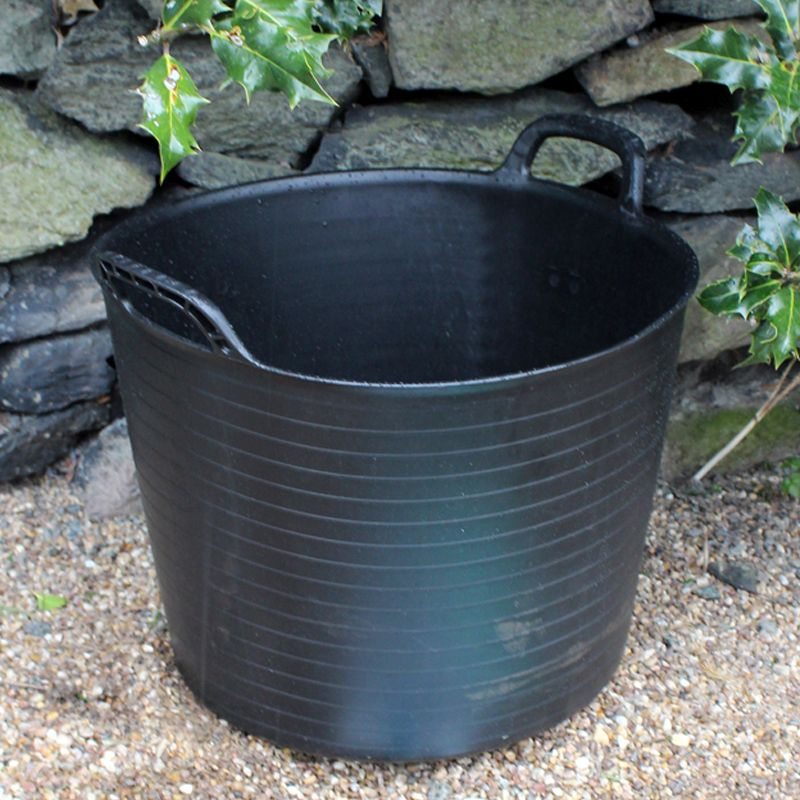 Kingfisher Growing 42 Litre Black Rubber Tub with Carry Handles