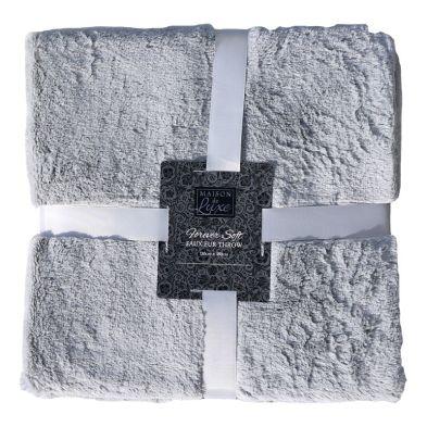 130x180cm Faux Fur Throw - Grey