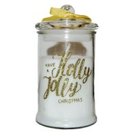See more information about the Vanilla Scented Glass Candle (8cm x 14cm) - Gold Text