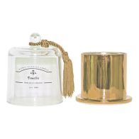 See more information about the Gold Glass Domed Candle Holder Vanilla 11x14cm