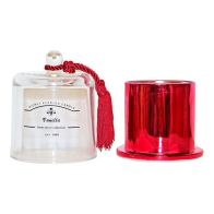 See more information about the Red Glass Domed Candle Holder Vanilla 11x14cm