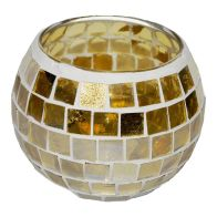 See more information about the Coloured Mosaic Glass Candle Holder (10.5cm x 8cm) - Golds