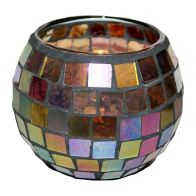 See more information about the Coloured Mosaic Glass Candle Holder (10.5cm x 8cm) - Rainbow