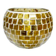 See more information about the Coloured Mosaic Glass Candle Holder (16cm x 11.5cm) - Golds