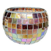 See more information about the Coloured Mosaic Glass Candle Holder (16cm x 11.5cm) - Rainbow