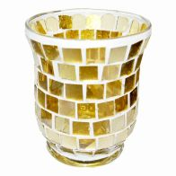 See more information about the Coloured Mosaic Glass Candle Holder (9.5cm x 11cm) - Golds