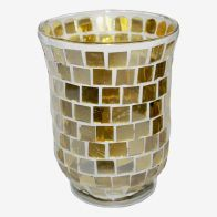 See more information about the Coloured Mosaic Glass Candle Holder (11cm x 15cm) - Golds