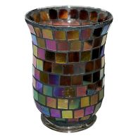 See more information about the Coloured Mosaic Glass Candle Holder (11cm x 15cm) - Rainbow