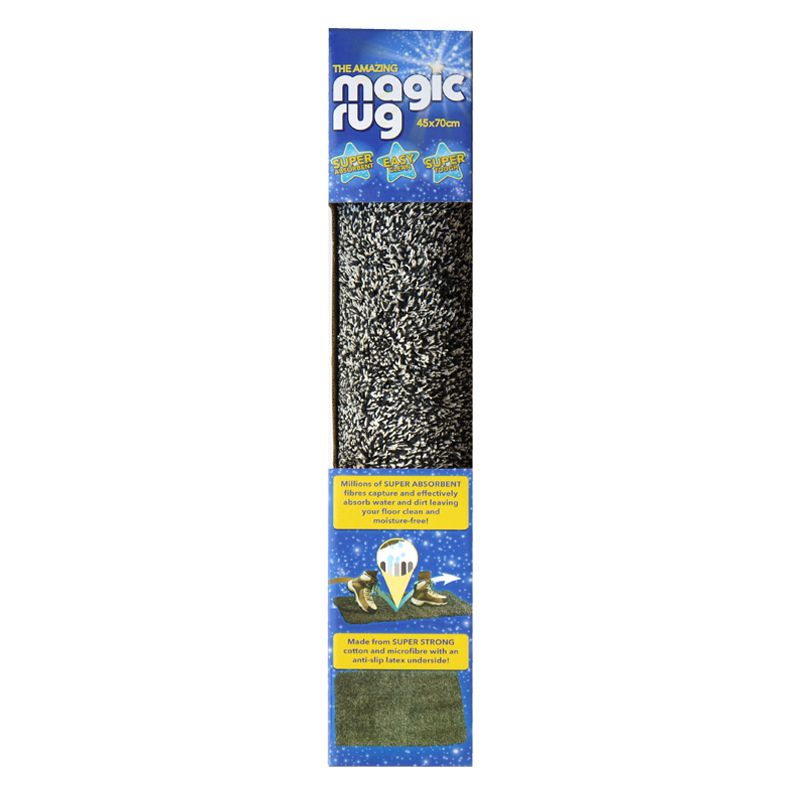 45x70cm The Amazing Magic Rug Poly - Black & Cream