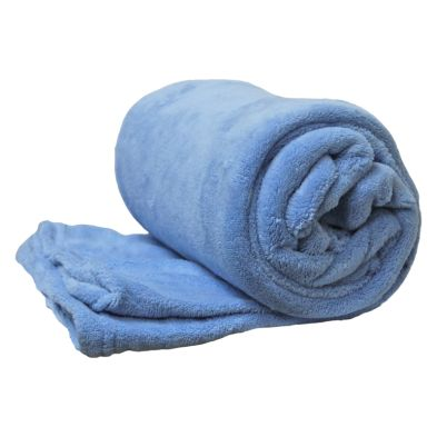150 x 200cm Flannel Fleece Blanket Throw Blue