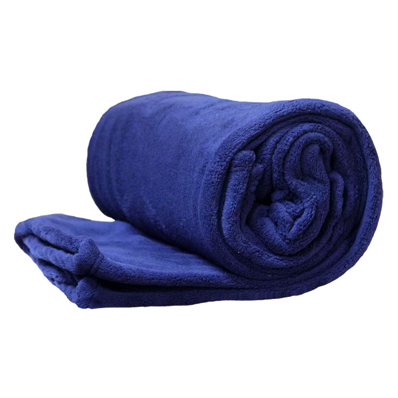 150 x 200cm Flannel Fleece Blanket Throw Dark Blue