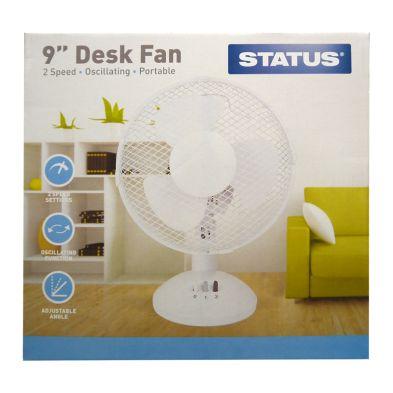 Image of Status 9 Inch Oscillating Desk Fan White - 2 Speed