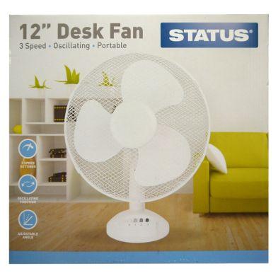 Image of Status 12 Inch Oscillating Desk Fan White - 3 Speed