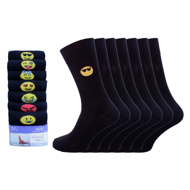 7 Pack Mens Emoji Emotion Cotton Rich Socks