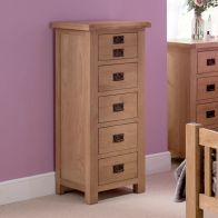 See more information about the Cotswold Oak Tall Chest Of 5 Drawers
