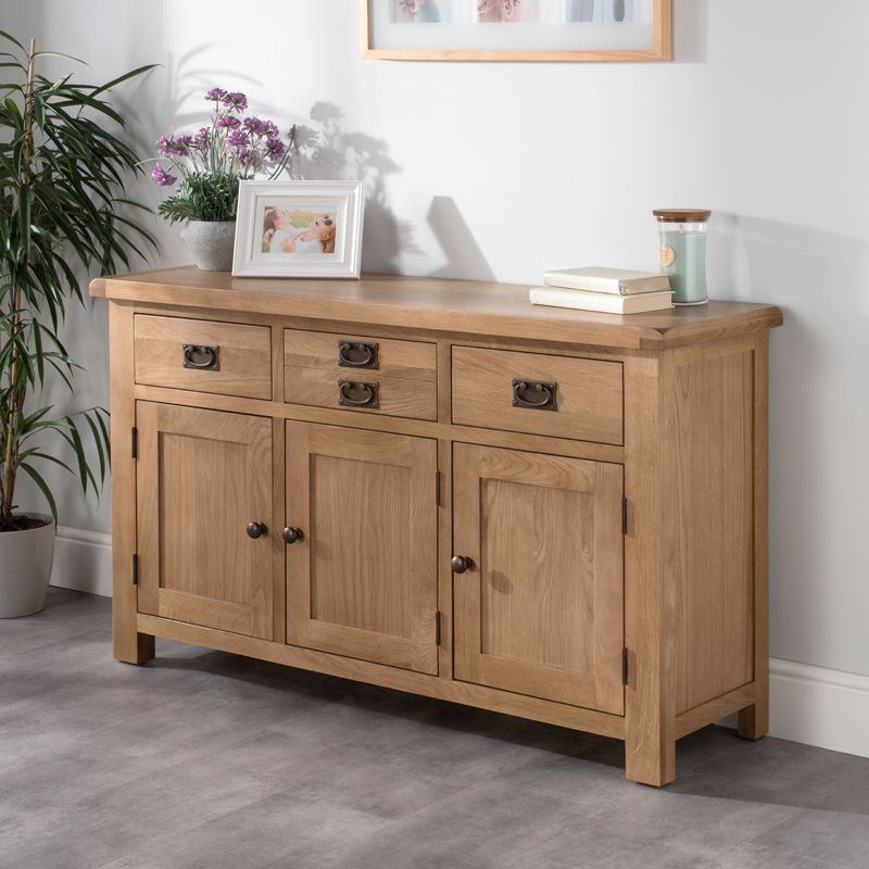 Cotswold Sideboard Oak 3 Door 3 Drawer