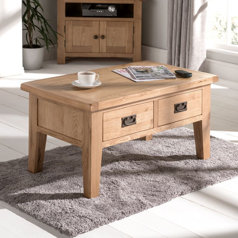 Cotswold Coffee Table Oak 2 Drawer Buy Online At Qd Stores