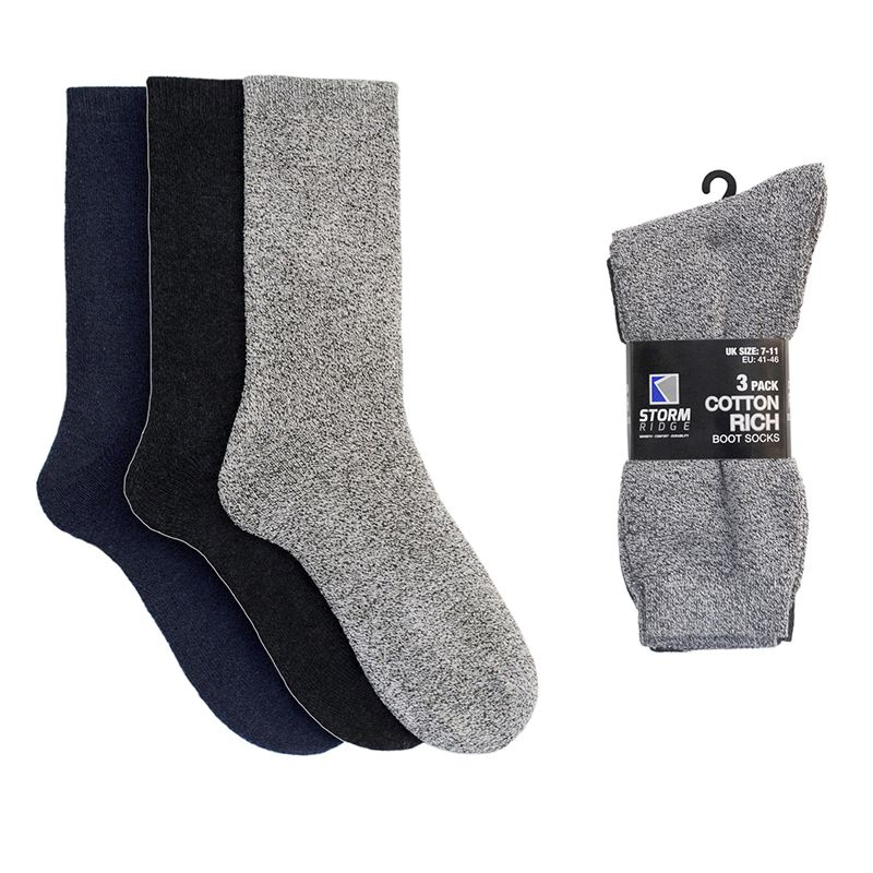 3 Pack Mens Greys Cotton Rich Boot Socks