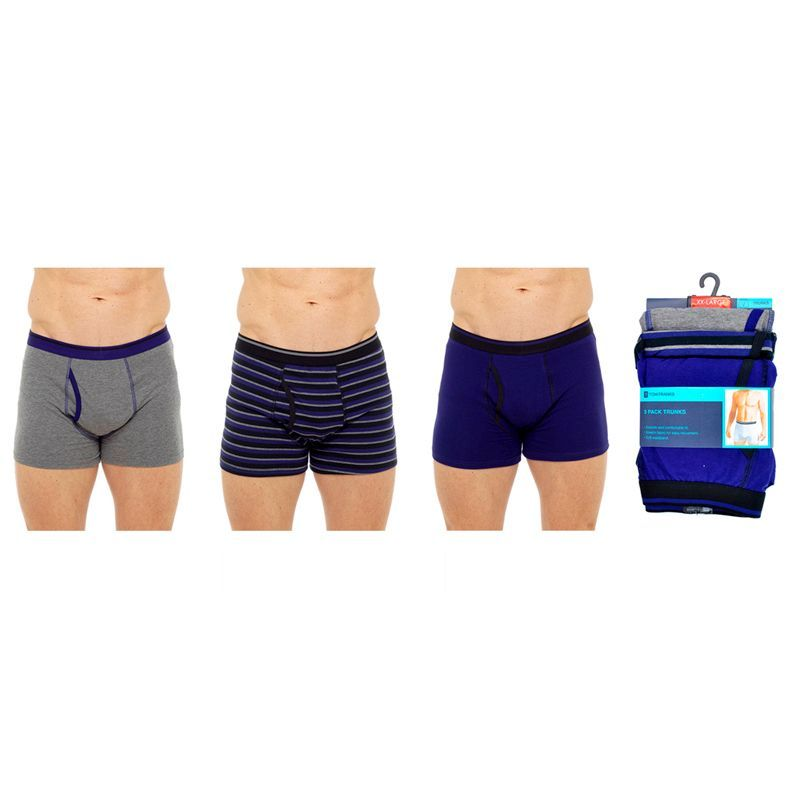 3 Pack Mens Keyhole Trunks - Blue Grey & Striped - XXLarge