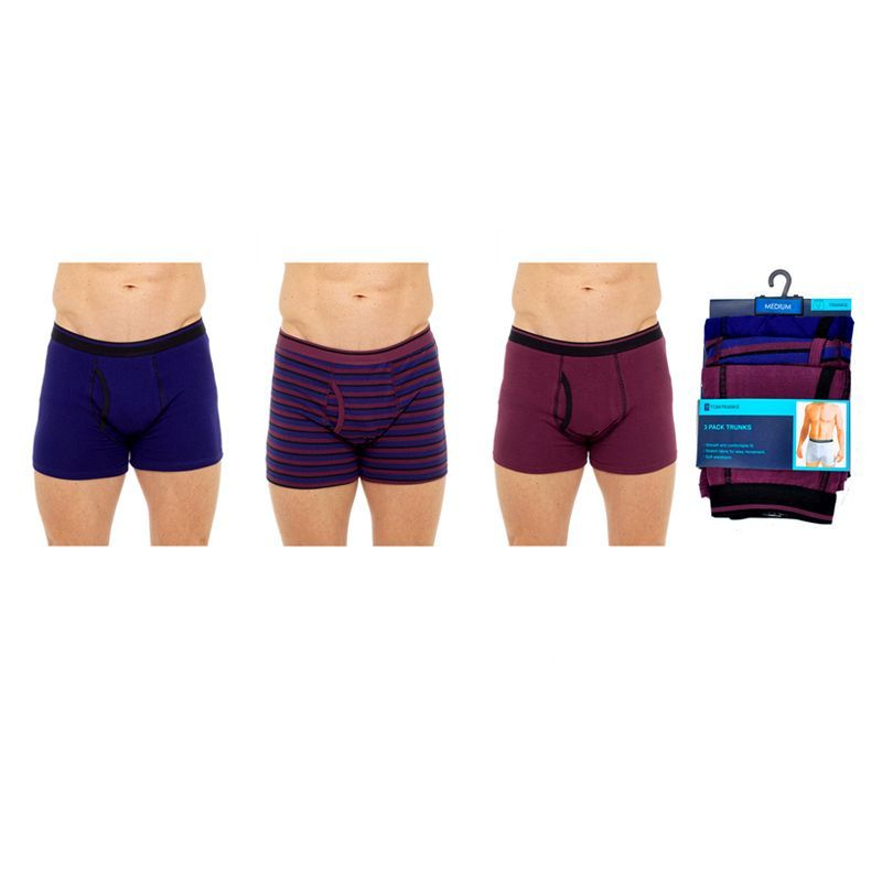 3 Pack Mens Keyhole Trunks - Burgundy Navy & Striped - Large
