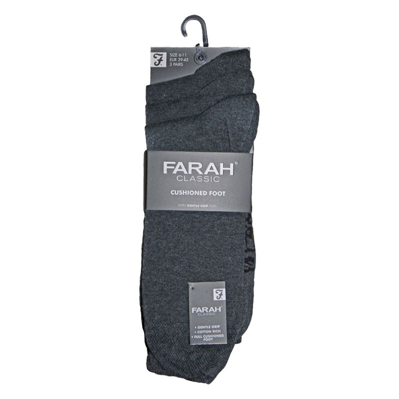 3 Pack Mens Charcoal Plain Cushiond Classic Socks